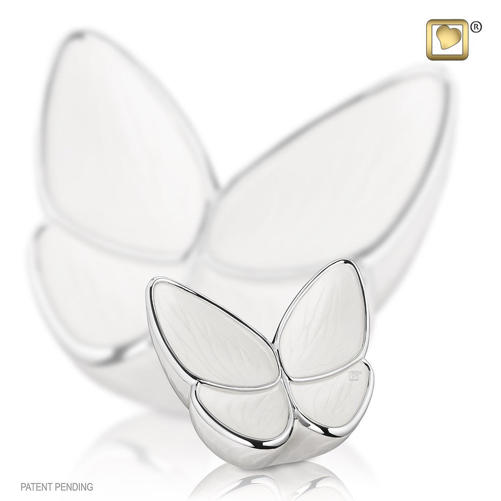 Keepsake Butterfly Cremation Urn in Pearl White