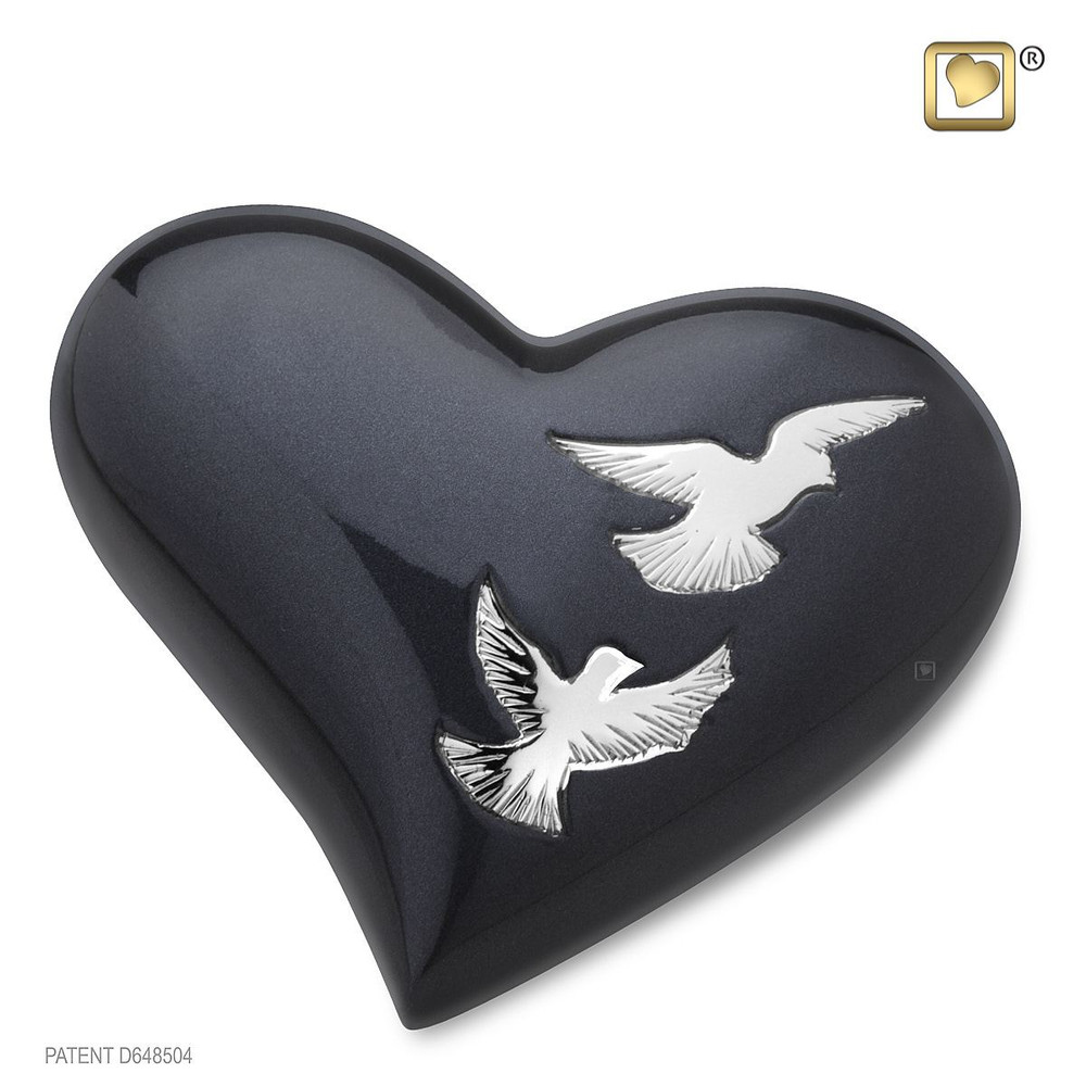 Nirvana Heart Keepsake Brass Cremation Urn with Doves
