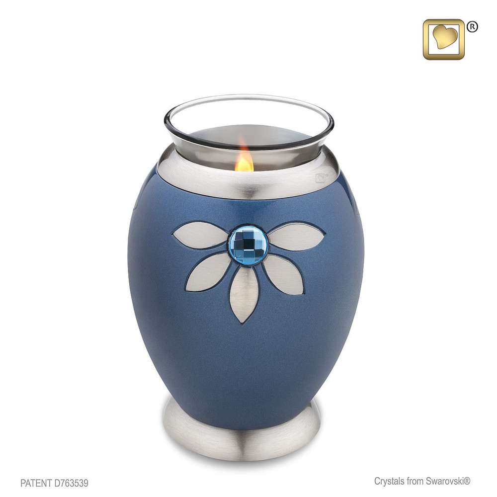 Oval Metal Cremation Urn with Swarovski Crystal Flowers - Tealight