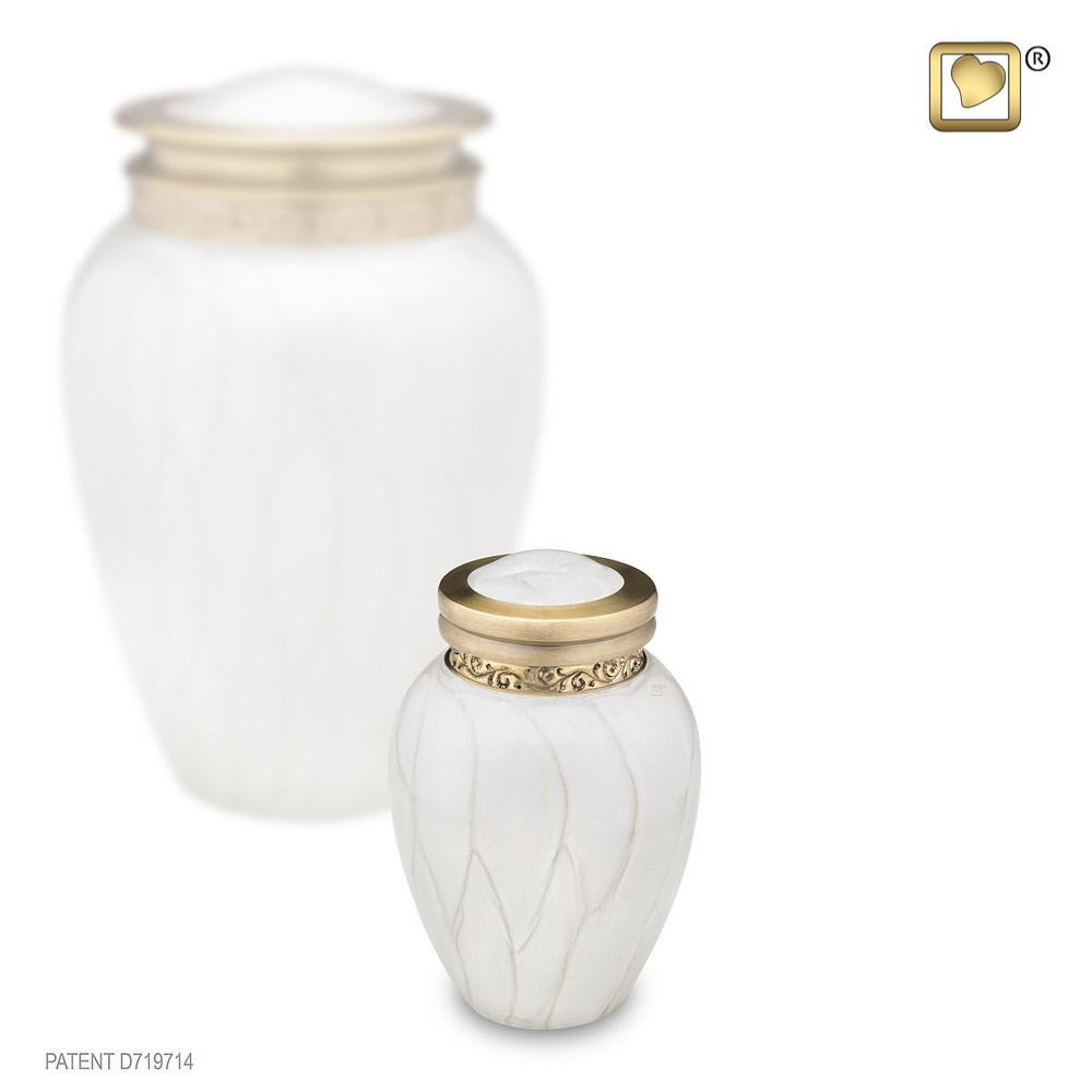 Blessing Brass Cremation Urn in Pearl White - Small Keepsake Urn