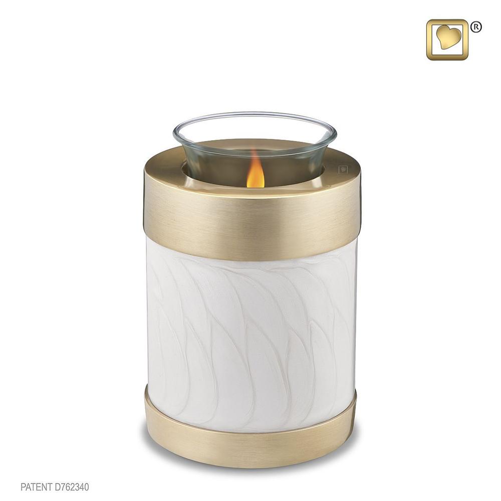 Blessing Brass Cremation Urn in Pearl White - Tealight Keepsake Urn