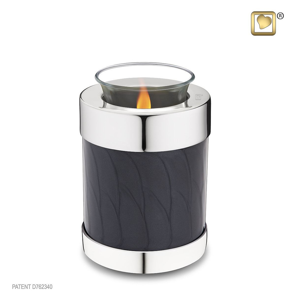 Blessing Brass Cremation Urn in Midnight Black - Tealight