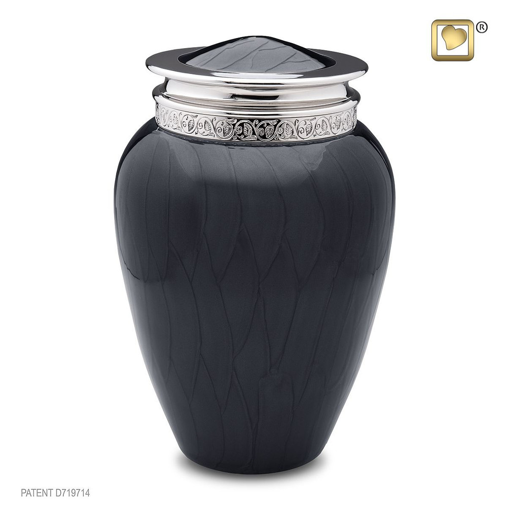 Blessing Brass Cremation Urn in Midnight Black - Adult