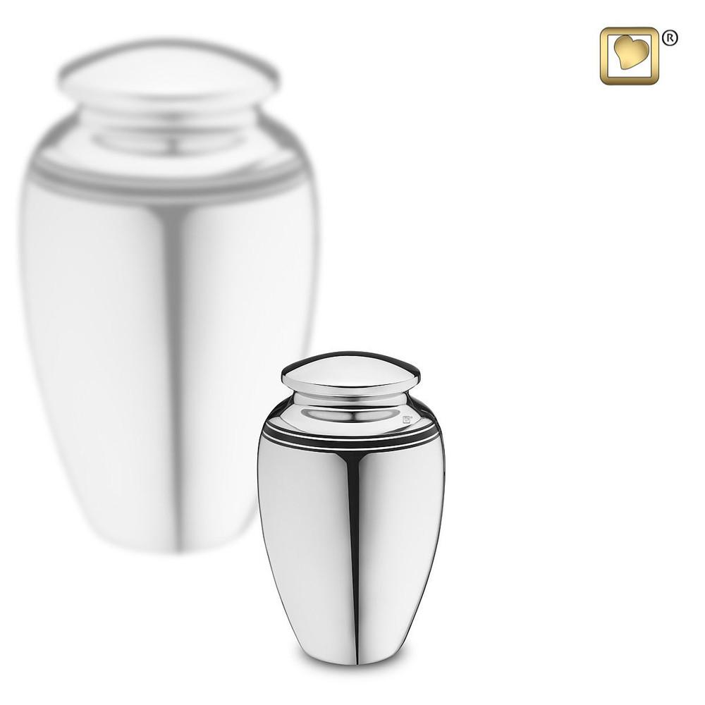 Art Deco Brass Cremation Urn in Silver - Keepsake