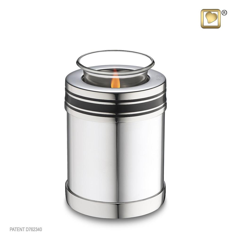 Art Deco Brass Cremation Urn in Silver - Tealight Keepsake