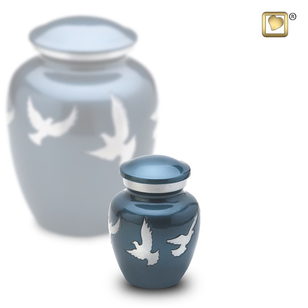 Divine Metal Cremation Urn with Flying Doves - Keepsake