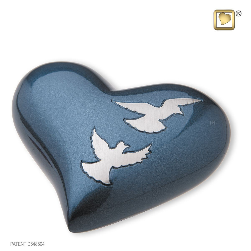 Divine Metal Cremation Urn with Flying Doves - Heart Keepsake