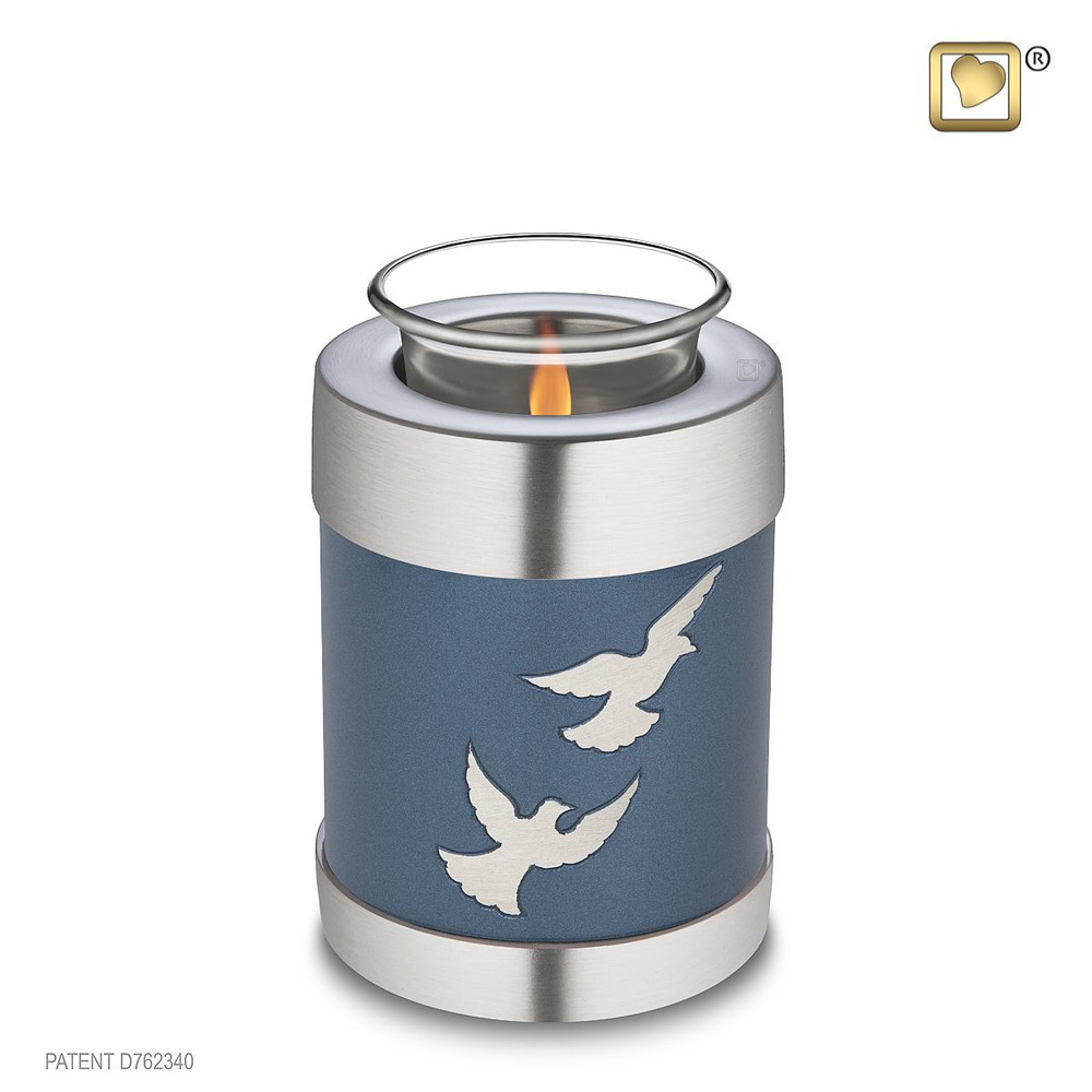 Divine Metal Cremation Urn with Flying Doves - Tealight