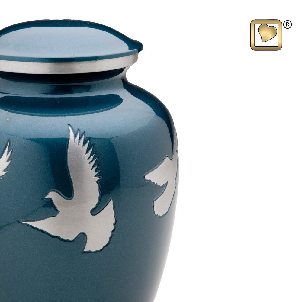 Divine Metal Cremation Urn with Flying Doves - Detail