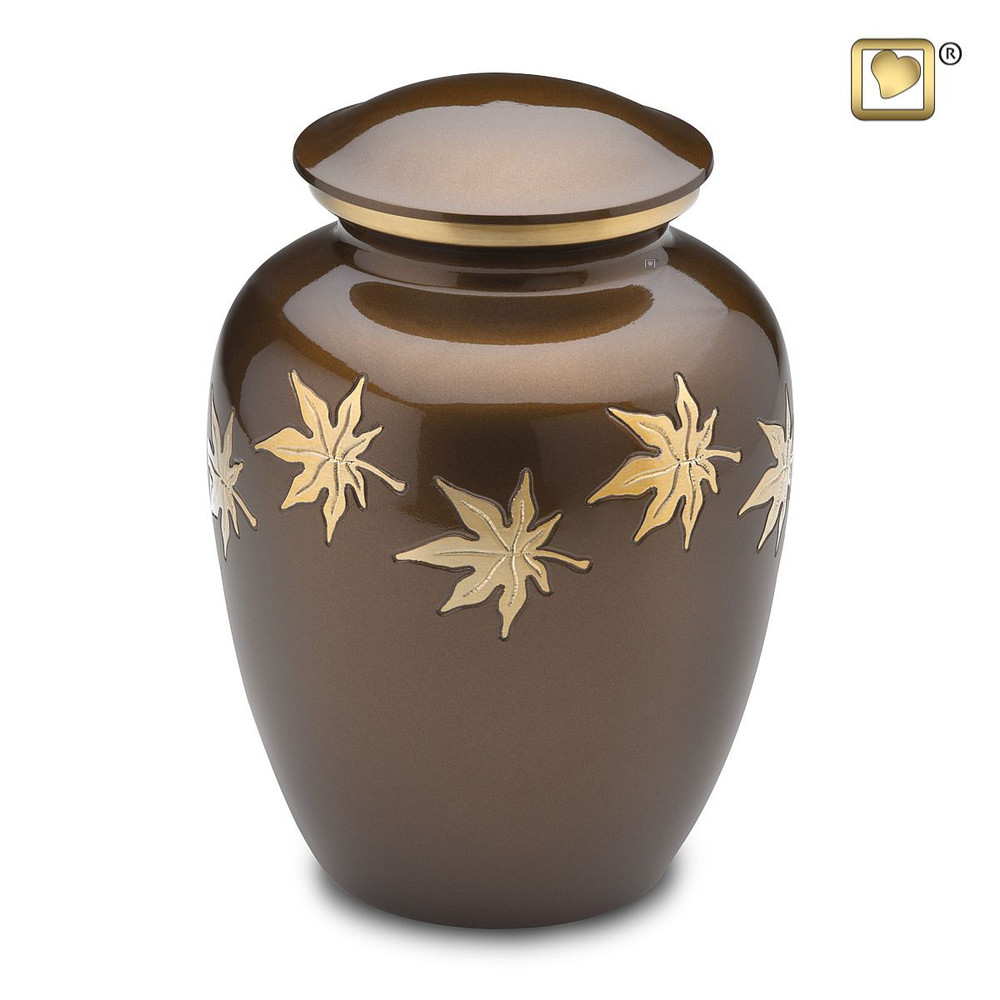 Metal Urn with Autumn Leaves - Adult