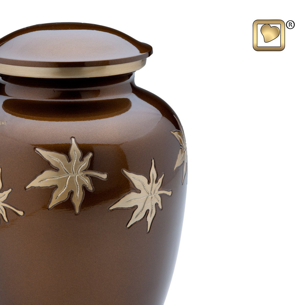 Metal Urn with Autumn Leaves - Adult - Detail