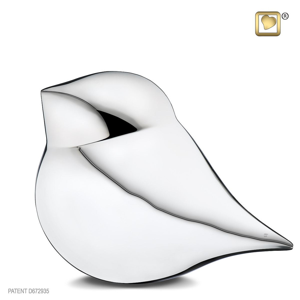 Soul Bird Brass Cremation Urn in Silver - Male - Adult