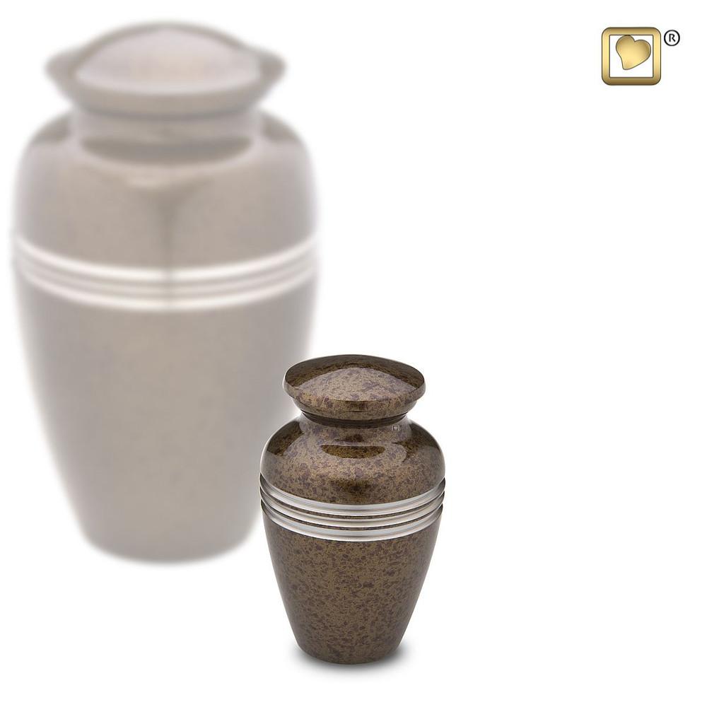 Speckled Auburn Brown Metal Urn - Keepsake Size