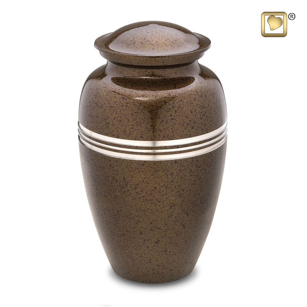 Speckled Auburn Brown Metal Cremation Urn - Adult Urn