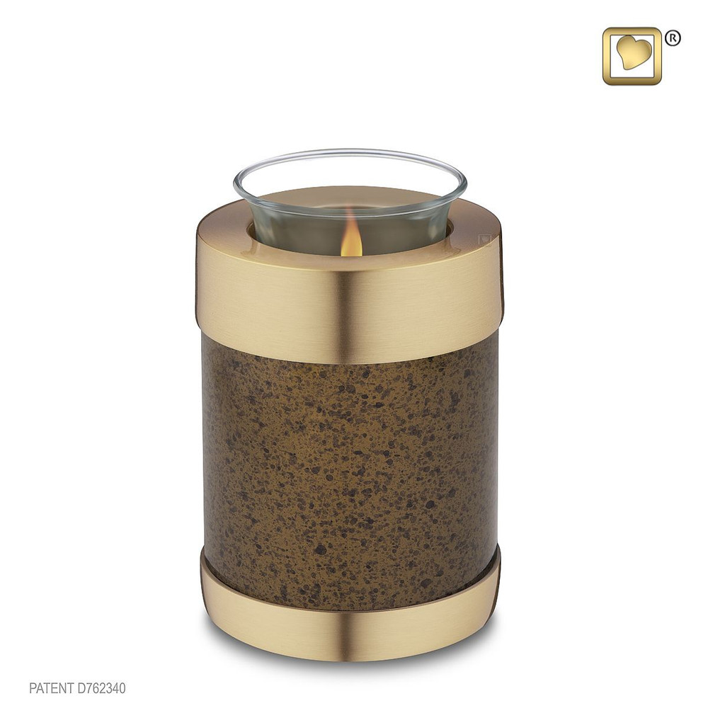 Speckled Auburn Brown Cremation Urn - Tealight