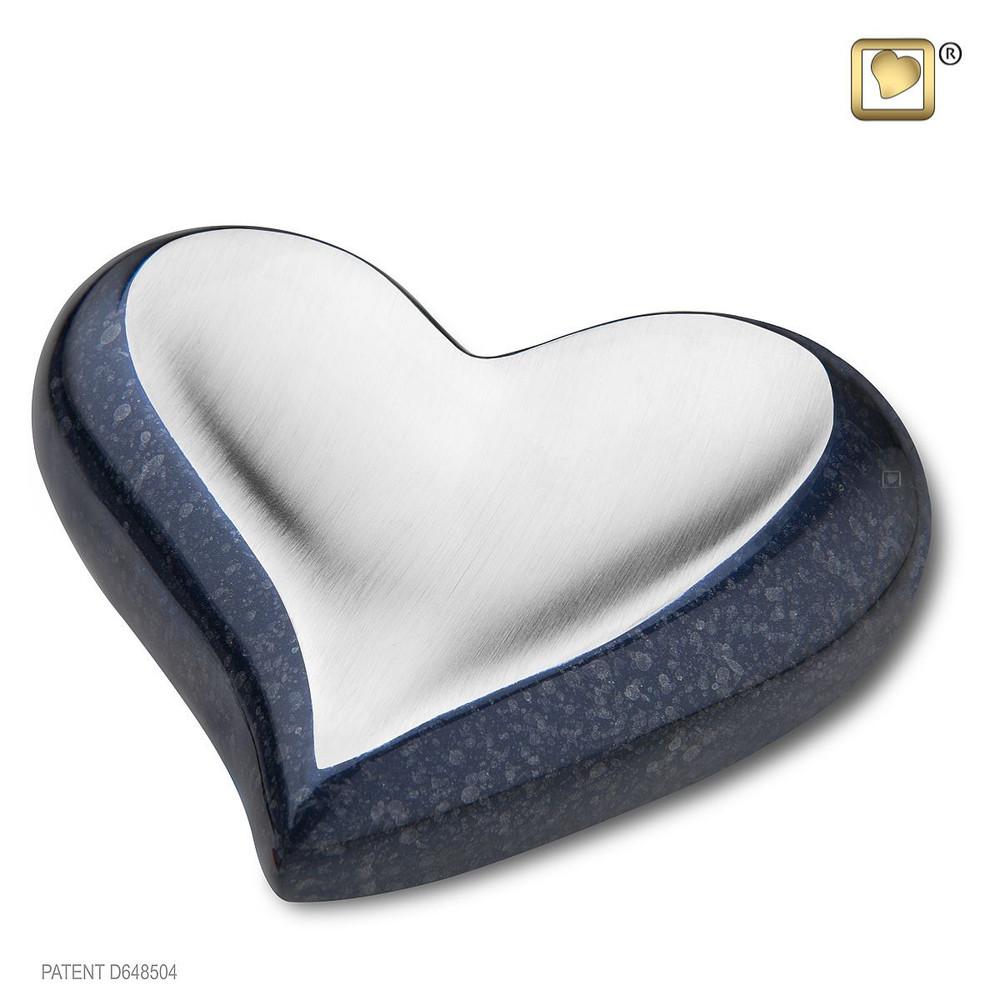 Speckled Indigo Blue Metal Heart Cremation Urn - Small Keepsake