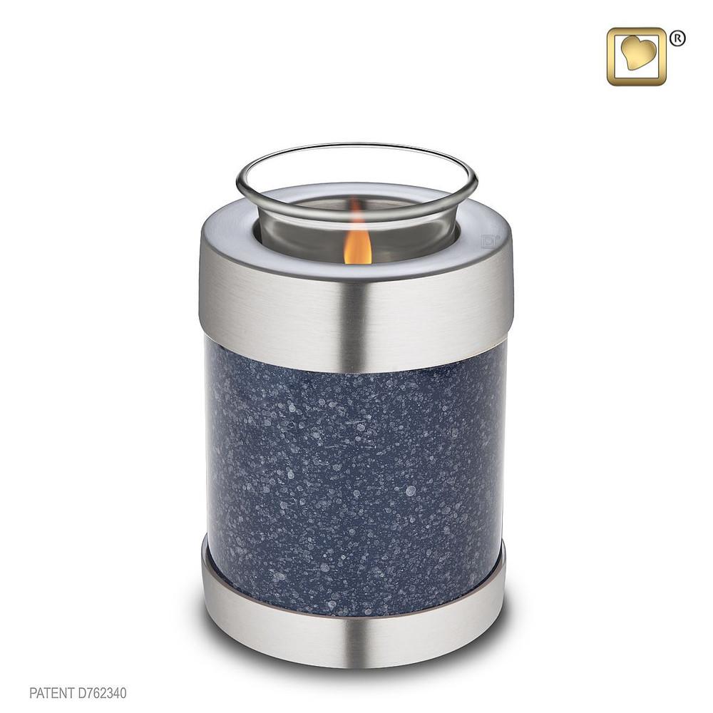 Speckled Indigo Blue Tealight Cremation Urn - Small Keepsake