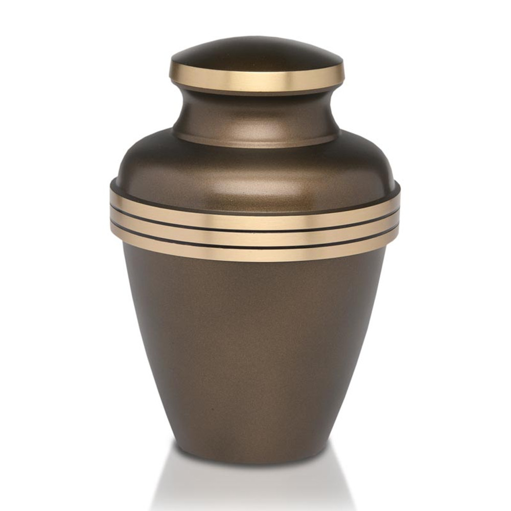 Brass Cremation Urn with Decorative Stripes