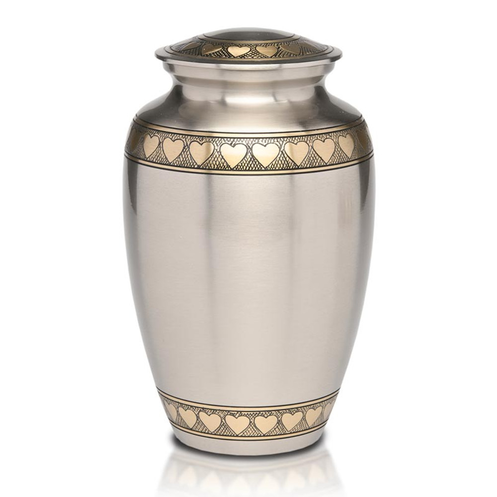 Hearts Brass Cremation Urn with Brushed Pewter Finish