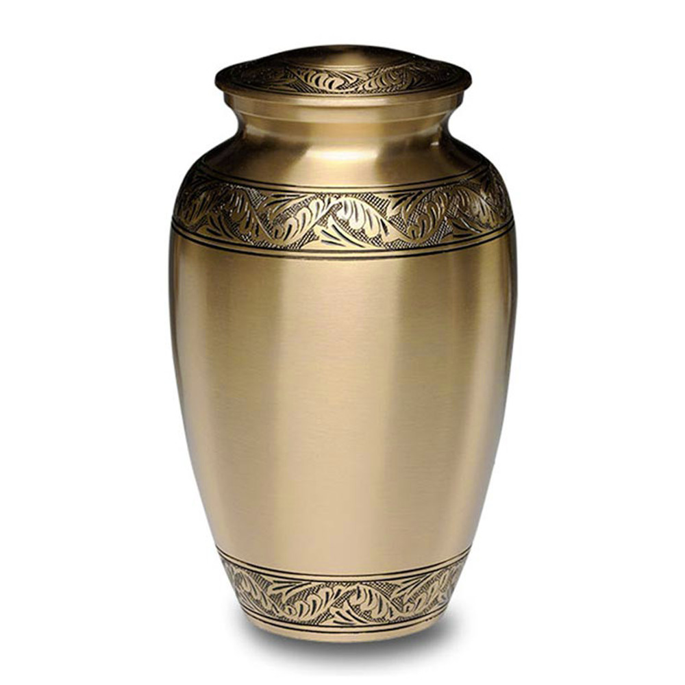 Classic Brass Cremation Urn - Brushed Brass Finish
