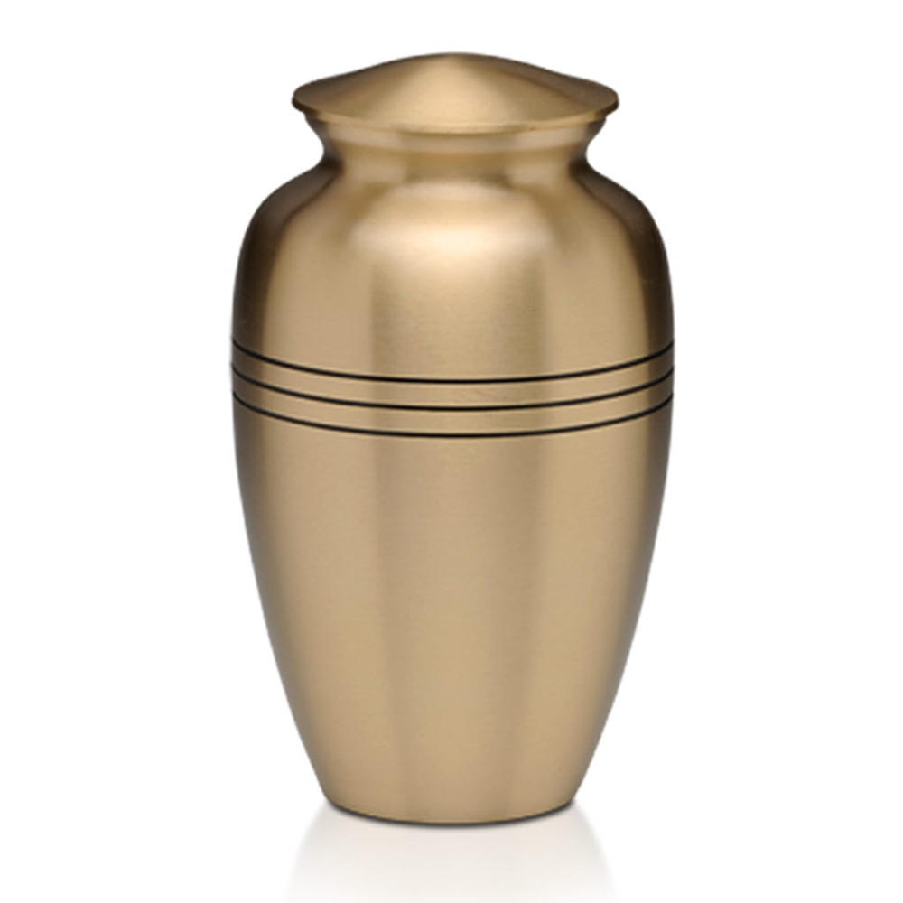 Traditional Brass Cremation Urn - Brushed Brass Finish