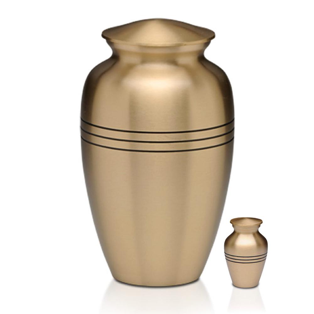 Adult Brass Urn & Small Keepsake Urn