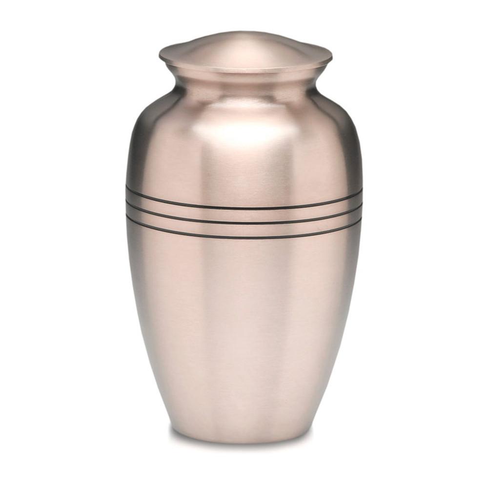 Traditional Pewter Cremation Urn - Brushed Metal Urn