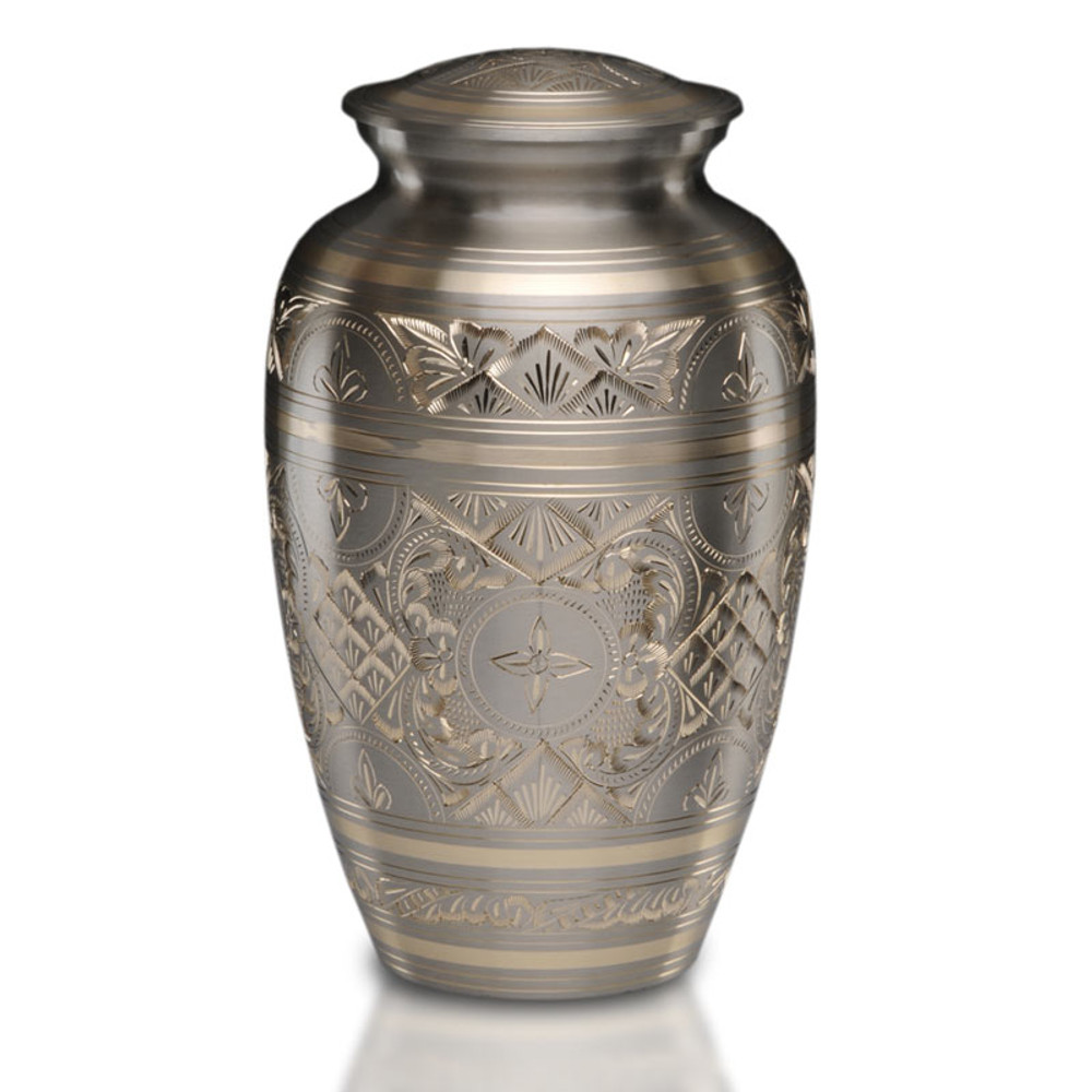 Sylvan Brass Cremation Urn in Platinum & Gold