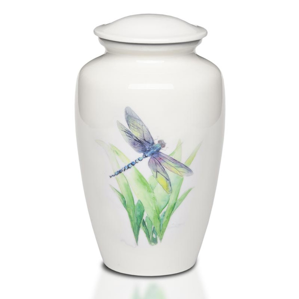 Metal Urn with Hand-Painted Dragonfly Art