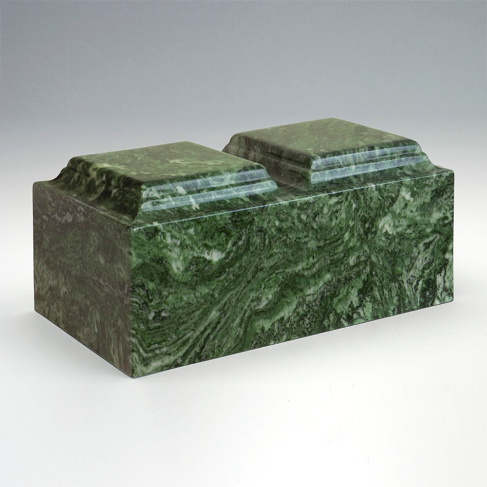 Classic Companion Cultured Marble Urn in Emerald