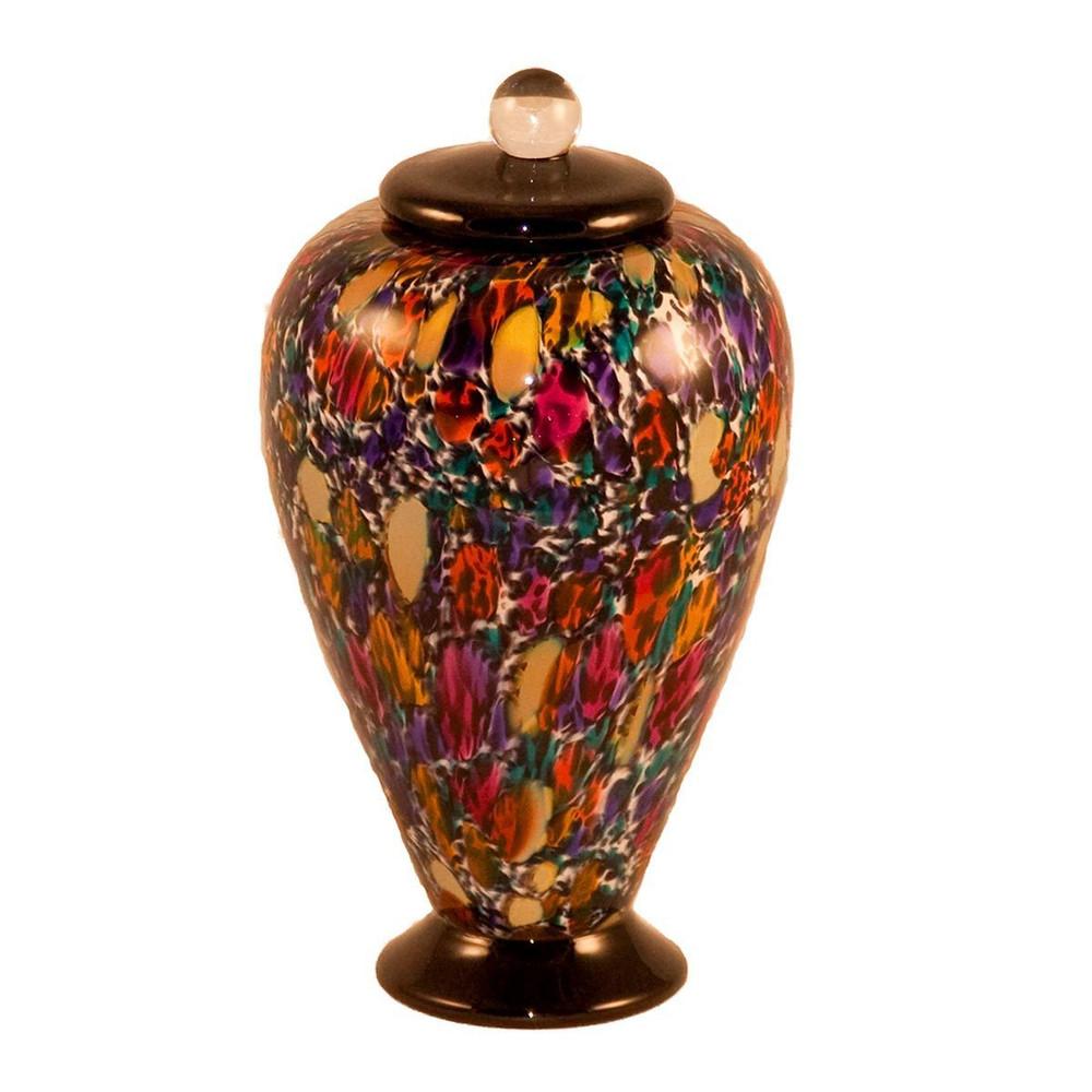 Small Deco Hand Blown Glass Urn - Desert