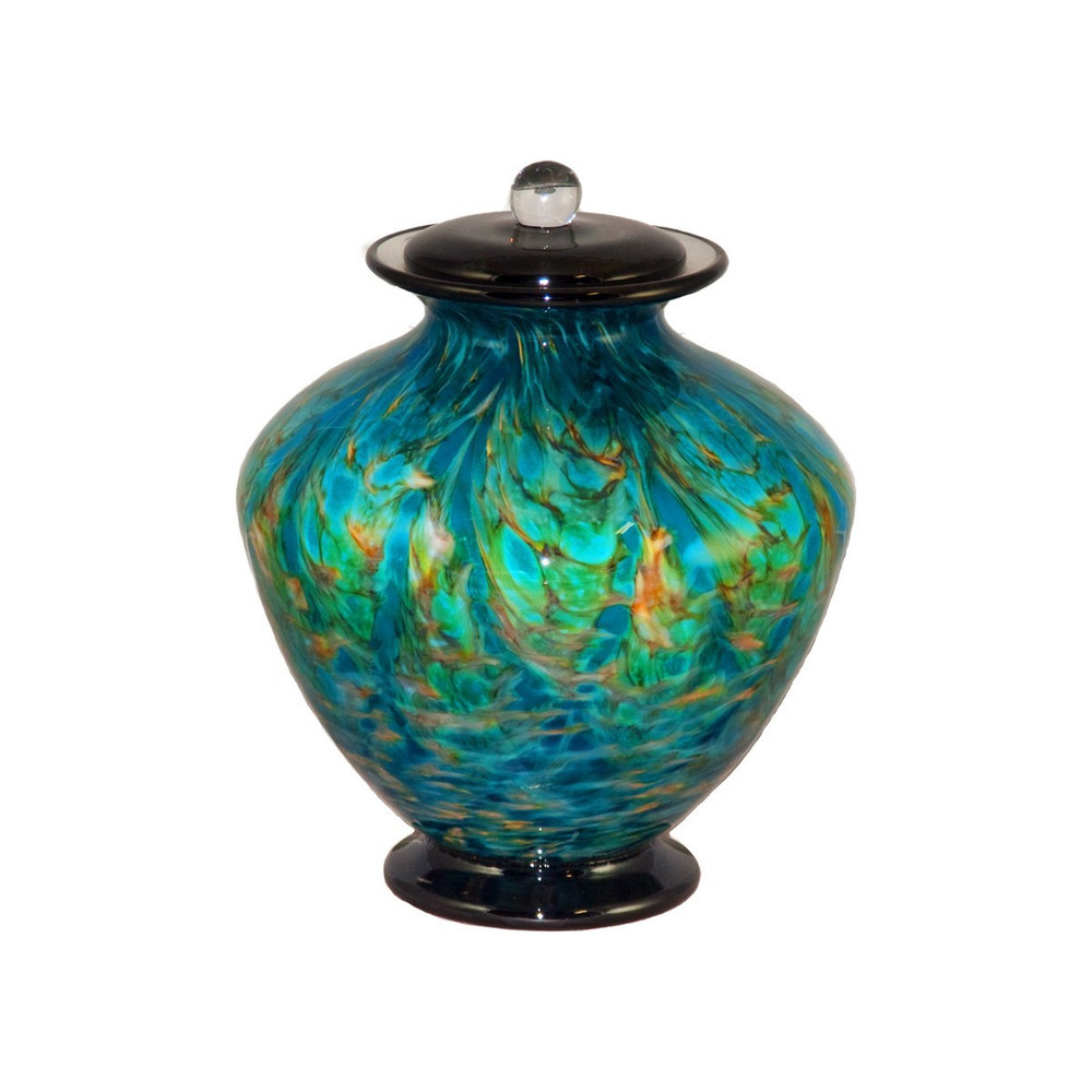 Small Greco Hand Blown Glass Urn - Aegean