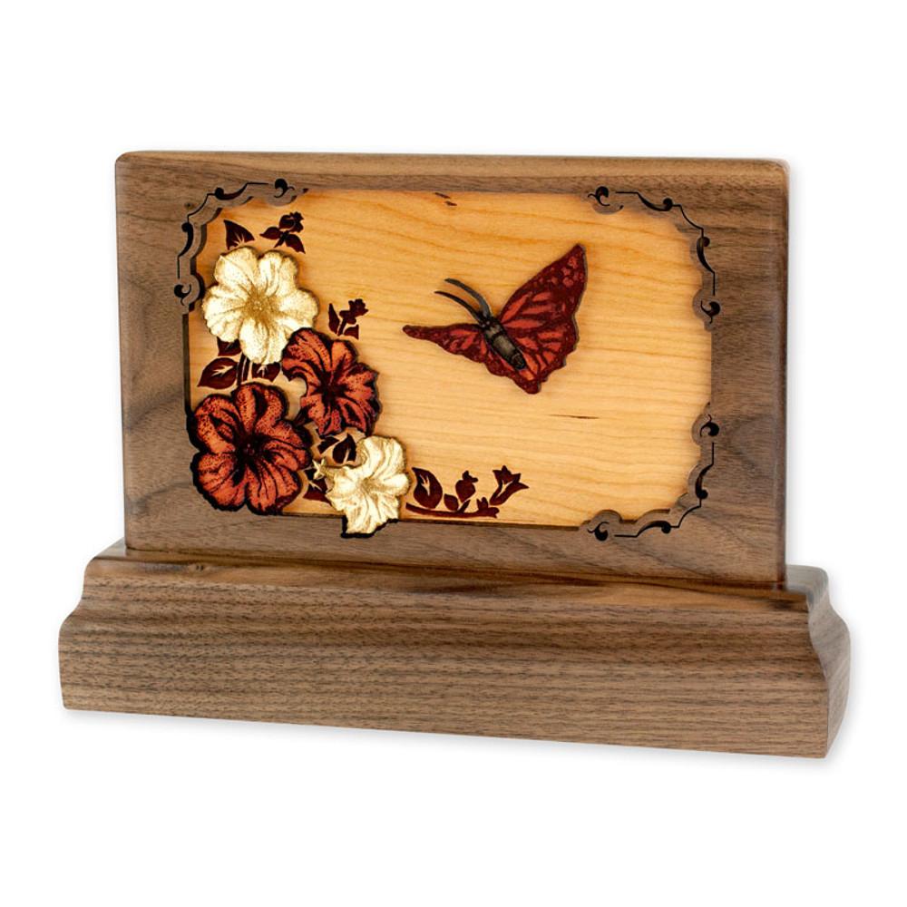 Small Walnut Keepsake Urn with Butterfly