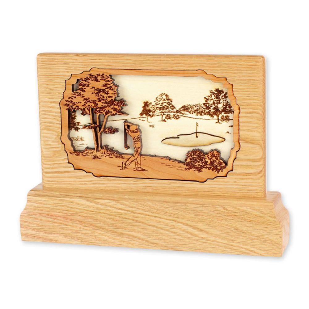Oak Keepsake Urn - Golf