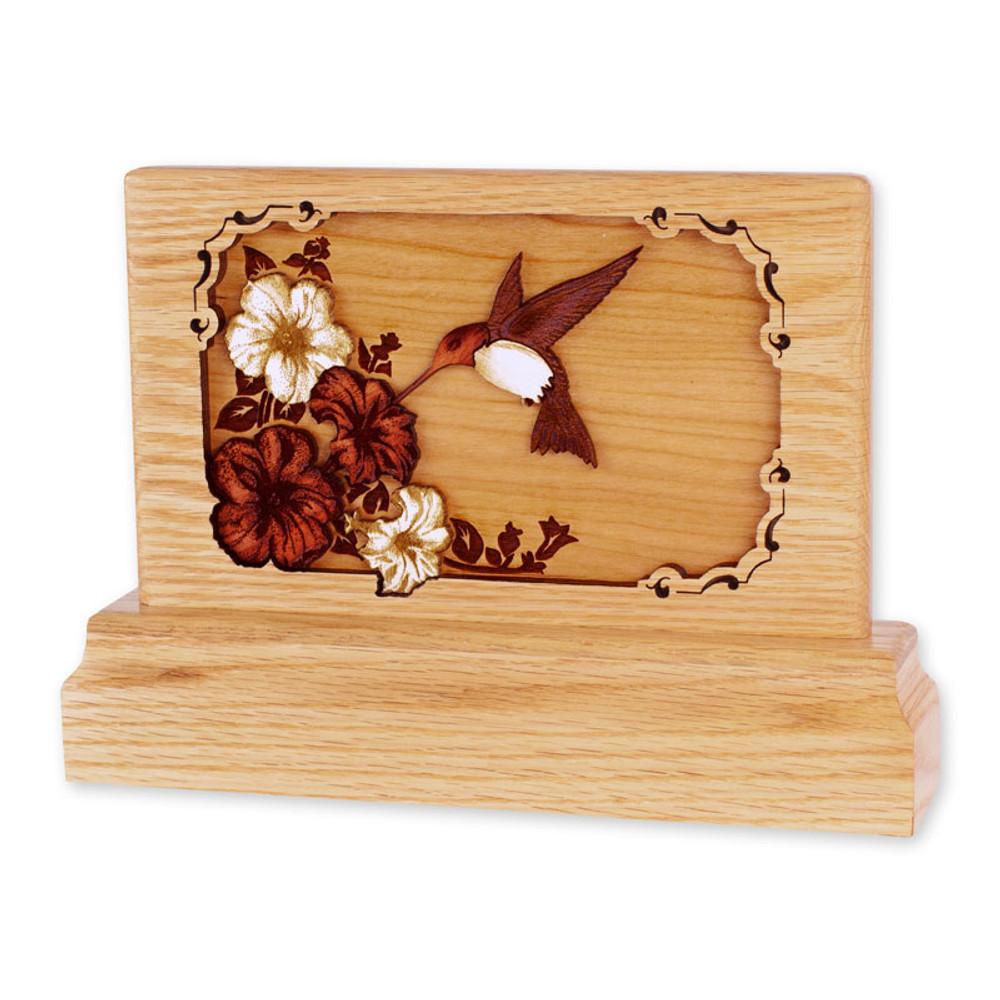 Small Oak Keepsake Urn - Hummingbird