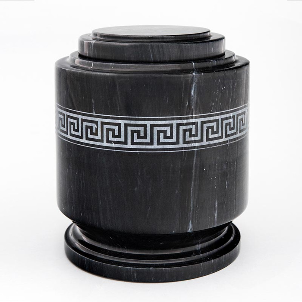 Greek Fret Black Marble Cremation Urn