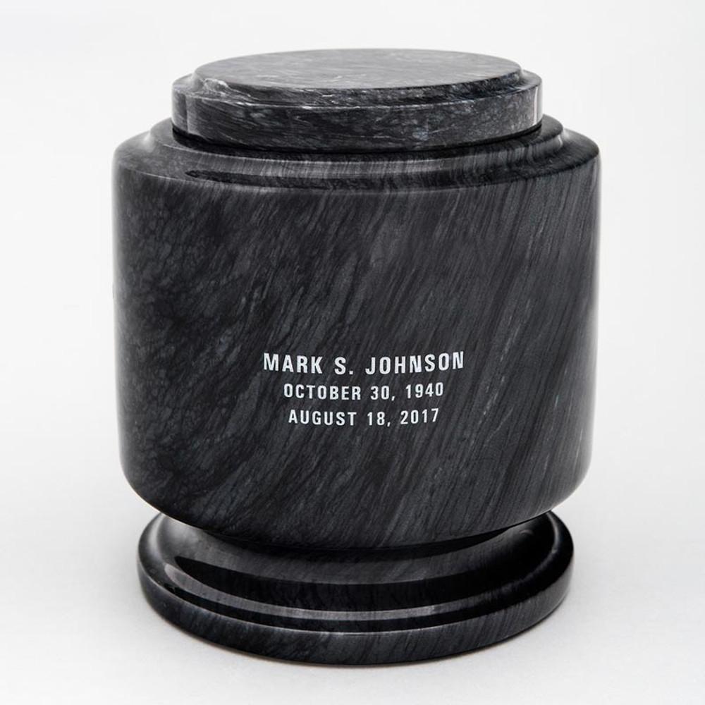 Black Estate II Marble Urn with Inscription