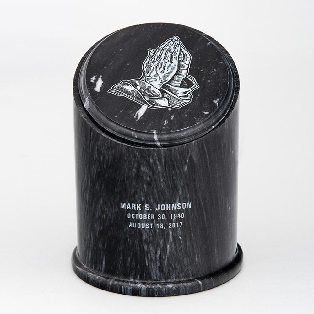 Crown Natural Marble Cremation Urn in Black with PRAYING HANDS 01