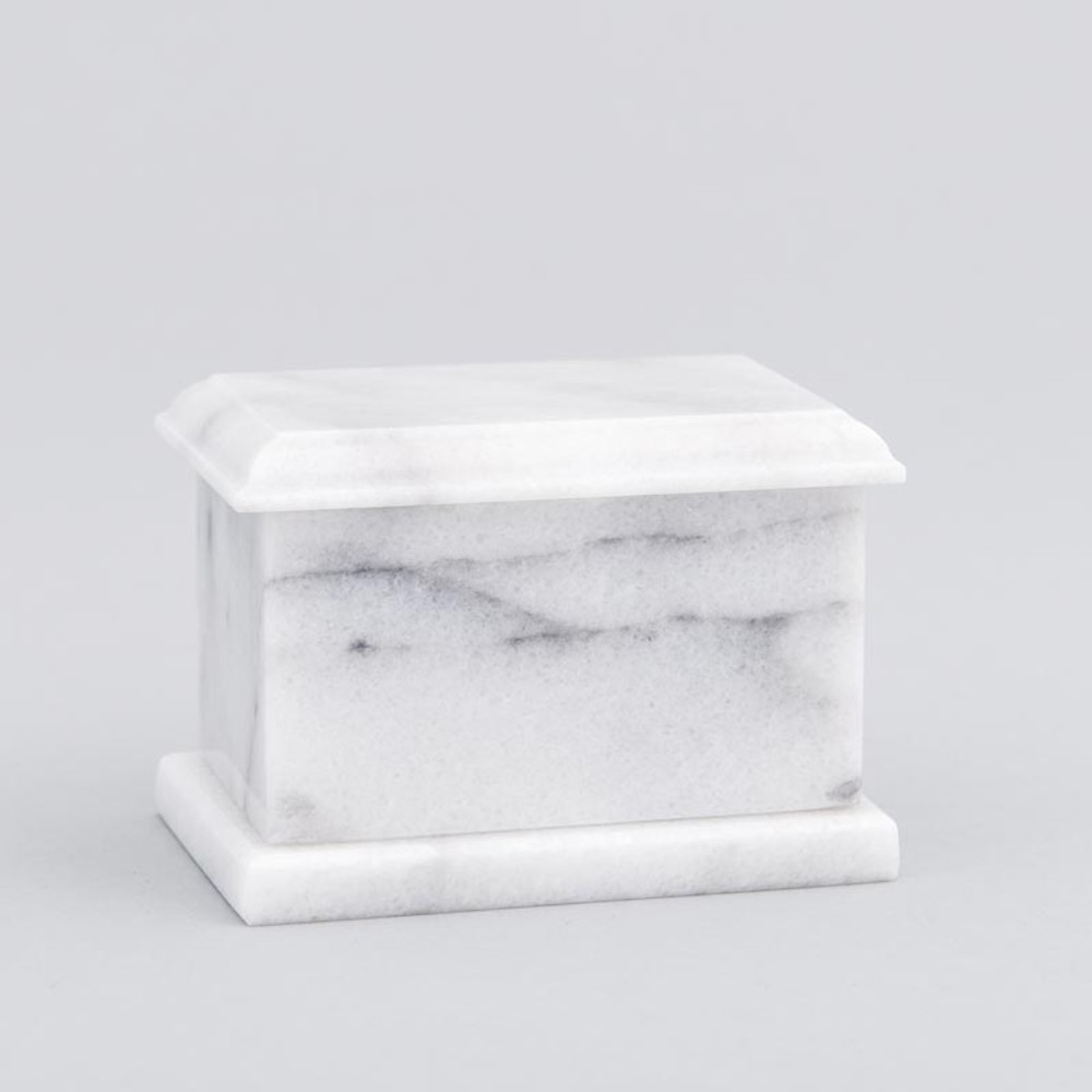 Evermore Rectangle Marble Keepsake Urn in White