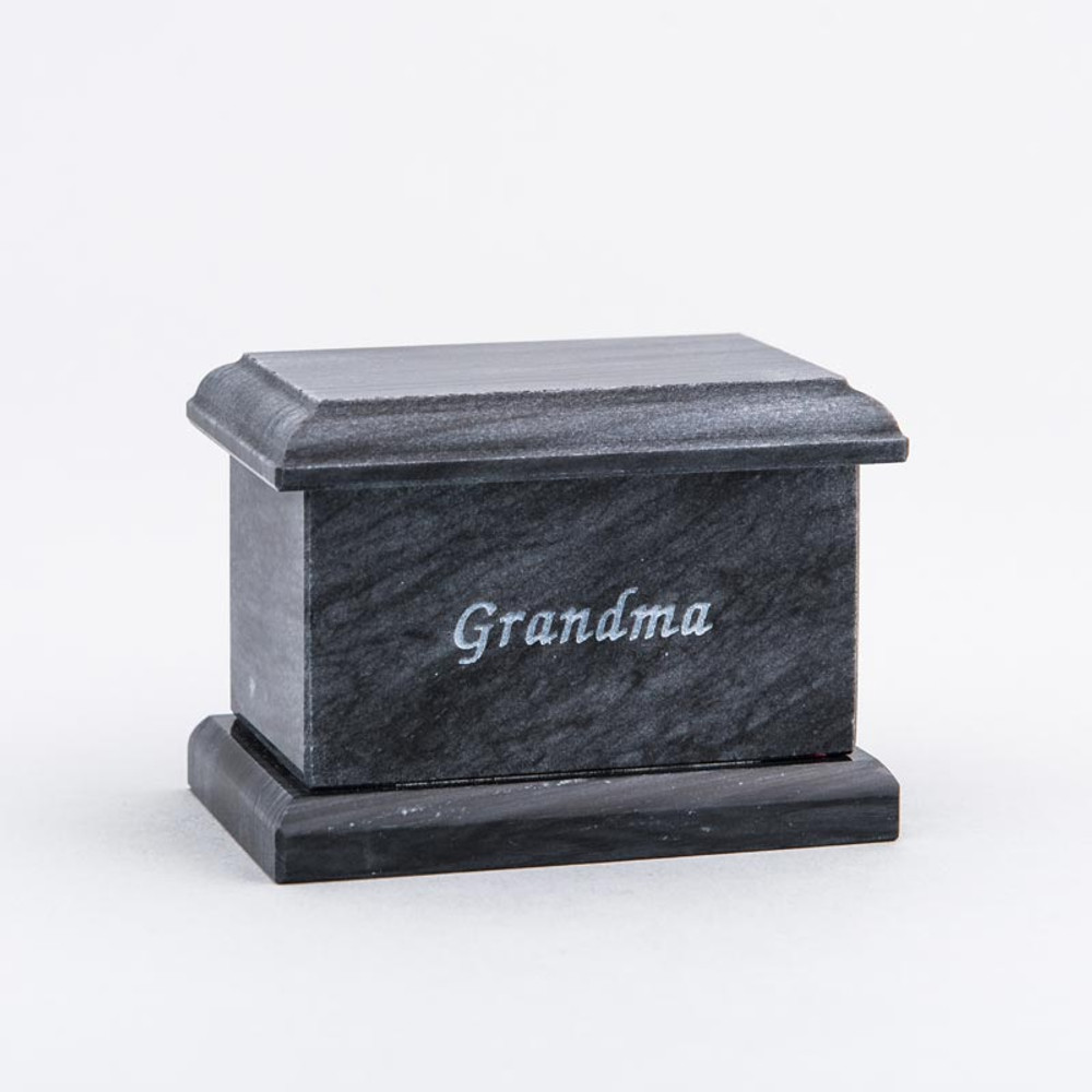 Evermore Rectangle Marble Keepsake Urn in Black with Inscription