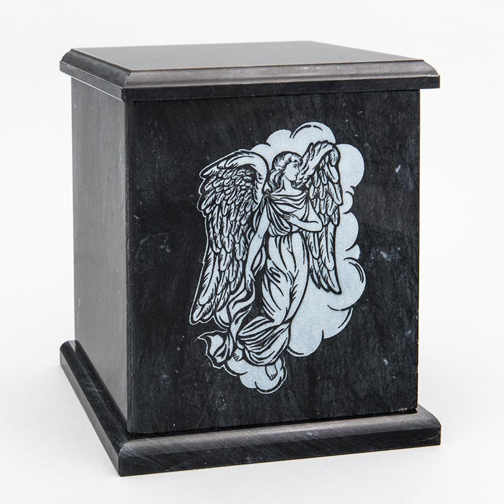 Evermore Square Marble Cremation Urn in Black - Personalized with ANGEL 02