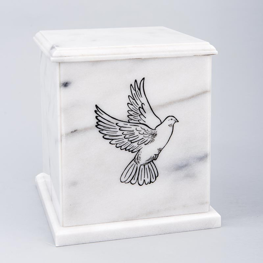 Evermore Square Marble Cremation Urn in White - Personalized with DOVE 01