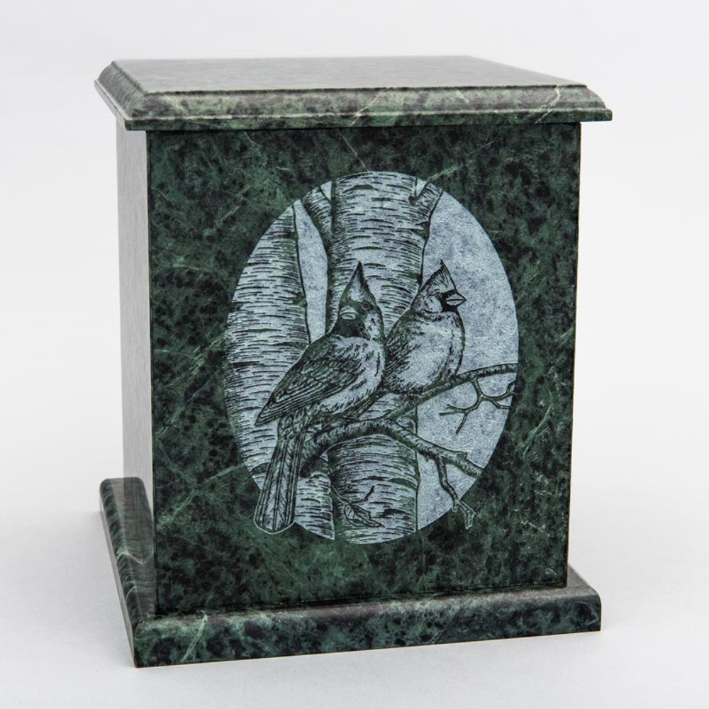 Evermore Square Marble Cremation Urn in Green - Personalized with CARDINALS 01