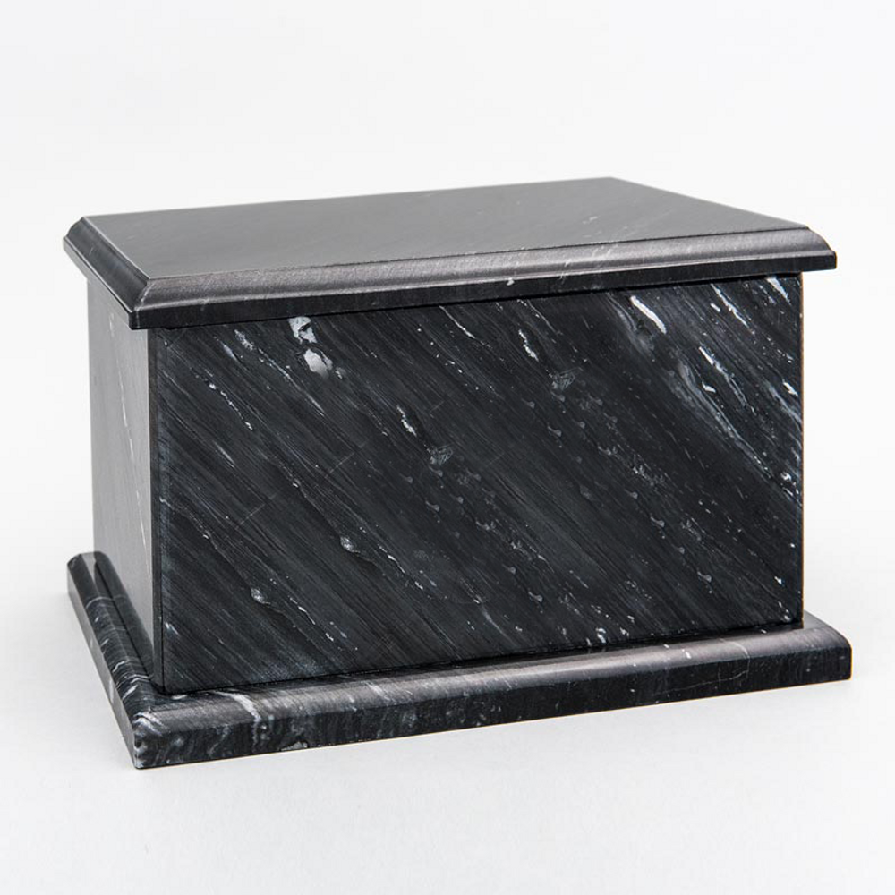 Evermore Rectangle Marble Cremation Urn in Black
