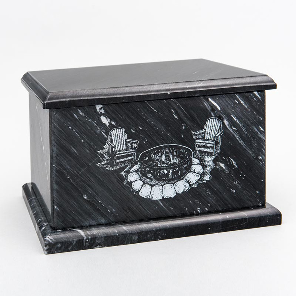 Evermore Rectangle Marble Cremation Urn in Black - Personalized with CAMPFIRE 01