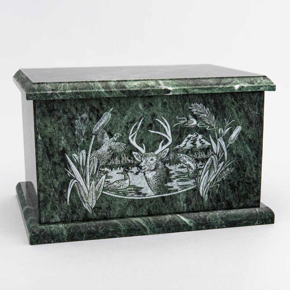 Evermore Rectangle Marble Cremation Urn in Green - Personalized with OUTDOOR WILDLIFE 01