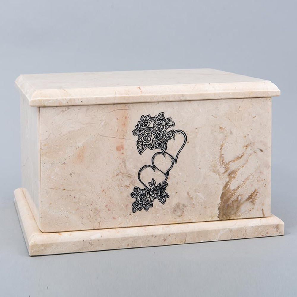 Evermore Rectangle Marble Cremation Urn in Champagne - Personalized with HEARTS & ROSES 02