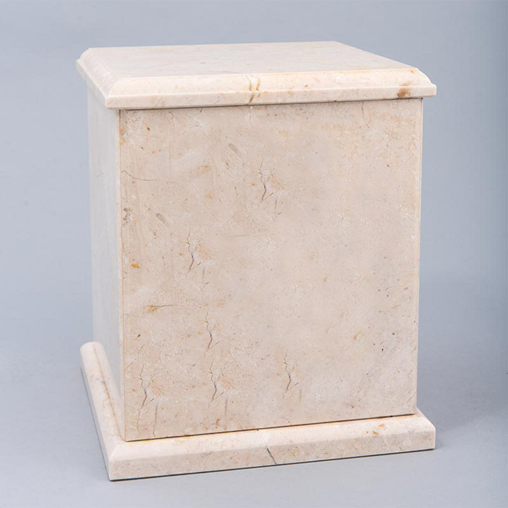 Evermore Square Marble Cremation Urn in Champagne