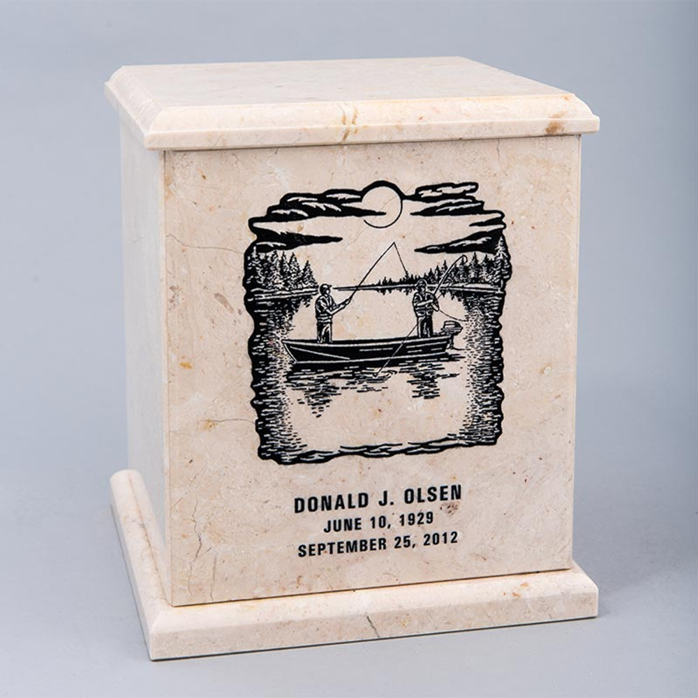 Evermore Square Marble Cremation Urn with Optional Inscription - Personalized with FISHING 02