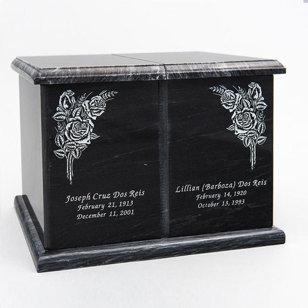 Double Compartment Companion Urn in Black with Inscription - Personalized with ROSE 01
